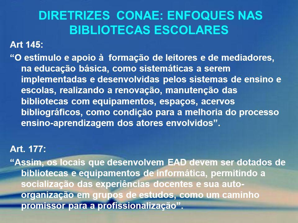 DIRETRIZES CONAE: ENFOQUES NAS BIBLIOTECAS ESCOLARES Art 145: O estímulo e apoio à formação de leitores e de mediadores, na educação básica, como sist