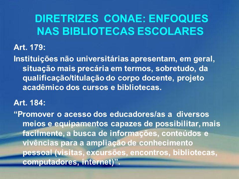 DIRETRIZES CONAE: ENFOQUES NAS BIBLIOTECAS ESCOLARES Art. 179: Instituições não universitárias apresentam, em geral, situação mais precária em termos,
