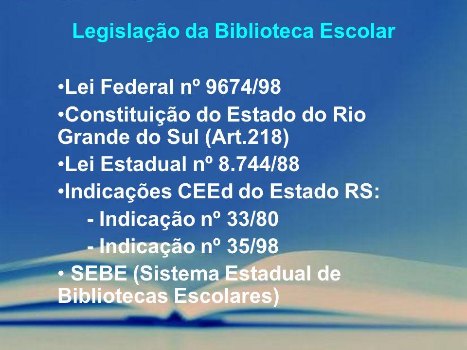 Legislação da Biblioteca Escolar Lei Federal nº 9674/98 Constituição do Estado do Rio Grande do Sul (Art.218) Lei Estadual nº 8.744/88 Indicações CEEd