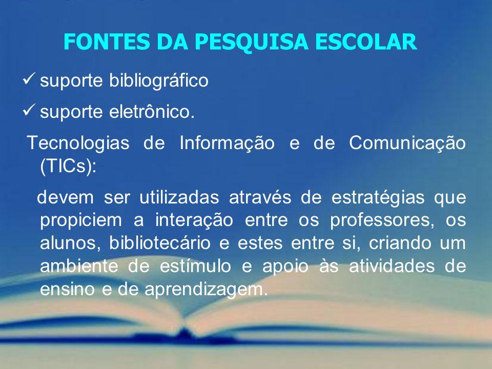 FONTES DA PESQUISA ESCOLAR suporte bibliográfico suporte eletrônico. Tecnologias de Informação e de Comunicação (TICs): devem ser utilizadas através d
