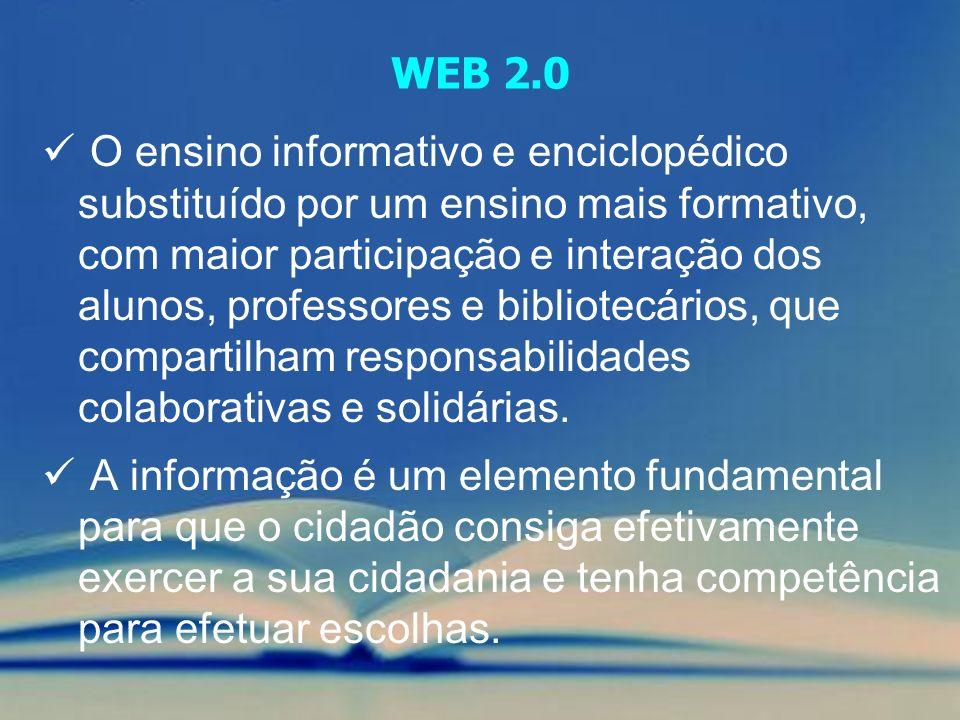 O ensino informativo e enciclopédico substituído por um ensino mais formativo, com maior participação e interação dos alunos, professores e bibliotecá