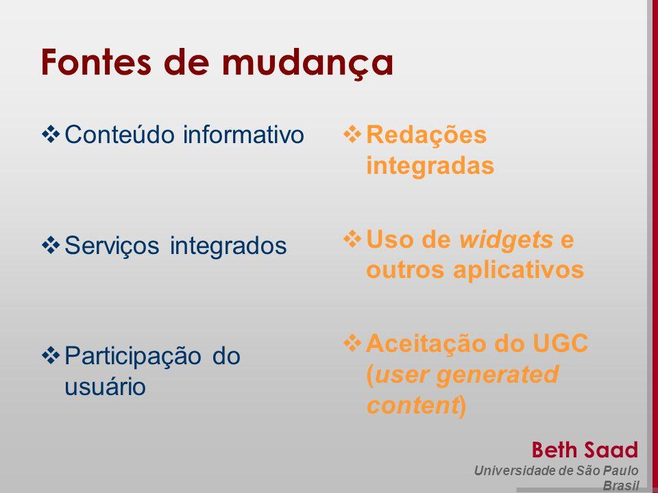 Beth Saad Universidade de São Paulo Brasil Fontes de mudança Conteúdo informativo Serviços integrados Participação do usuário Redações integradas Uso