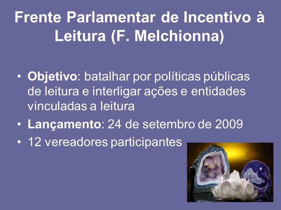 Frente Parlamentar de Incentivo à Leitura (F. Melchionna) Objetivo: batalhar por políticas públicas de leitura e interligar ações e entidades vinculad