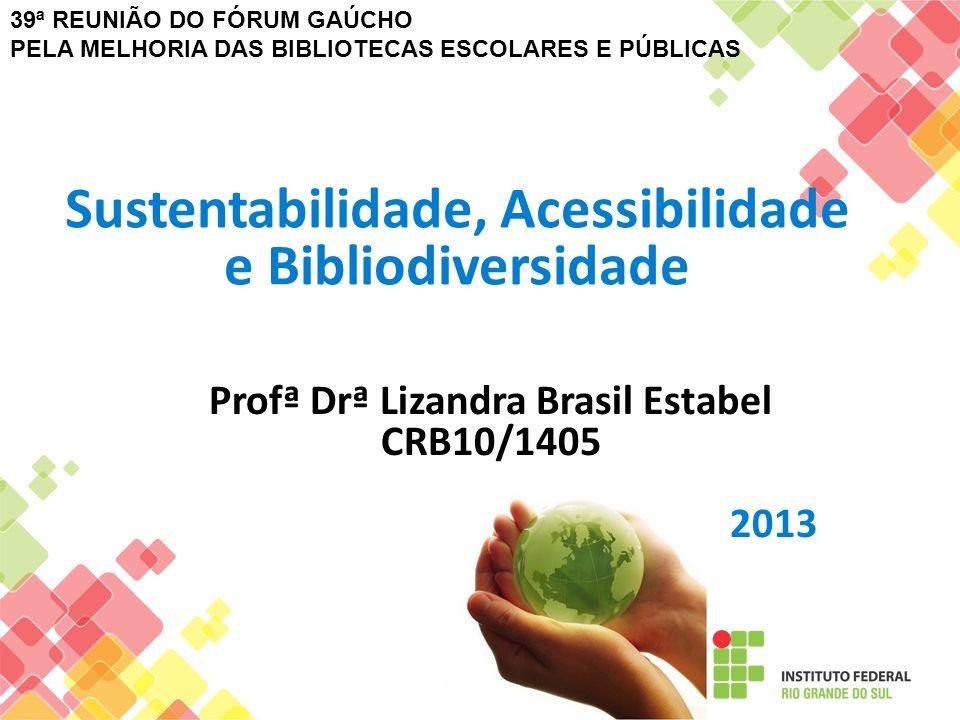 Sustentabilidade, Acessibilidade e Bibliodiversidade Profª Drª Lizandra Brasil Estabel CRB10/1405 2013 39ª REUNIÃO DO FÓRUM GAÚCHO PELA MELHORIA DAS B