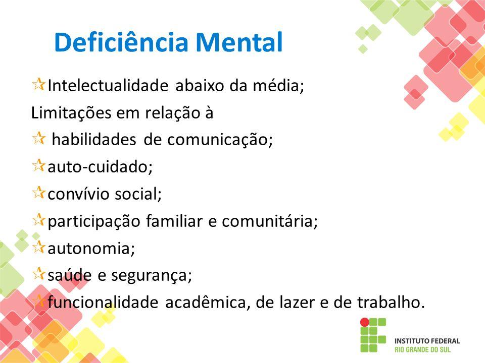Deficiência Mental Intelectualidade abaixo da média; Limitações em relação à habilidades de comunicação; auto-cuidado; convívio social; participação f