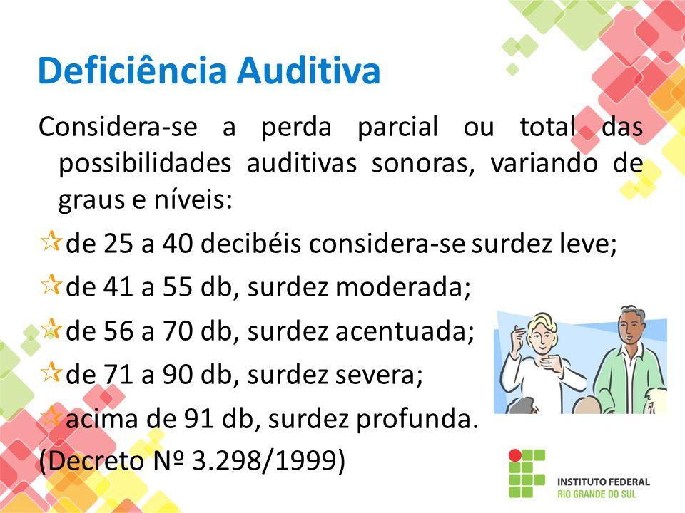 Deficiência Auditiva Considera-se a perda parcial ou total das possibilidades auditivas sonoras, variando de graus e níveis: de 25 a 40 decibéis consi