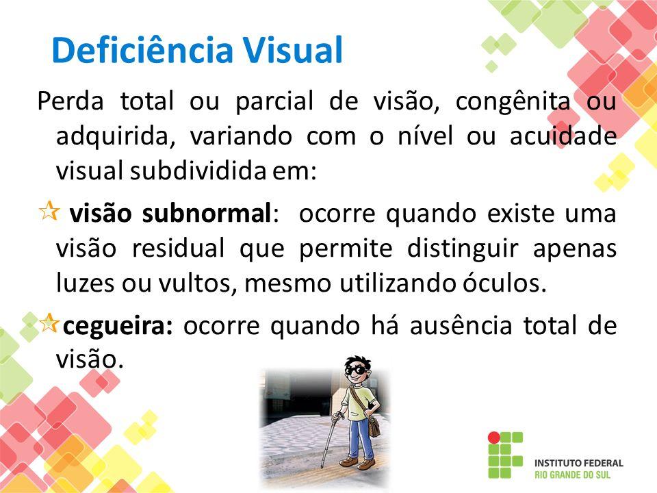 Deficiência Visual Perda total ou parcial de visão, congênita ou adquirida, variando com o nível ou acuidade visual subdividida em: visão subnormal: o