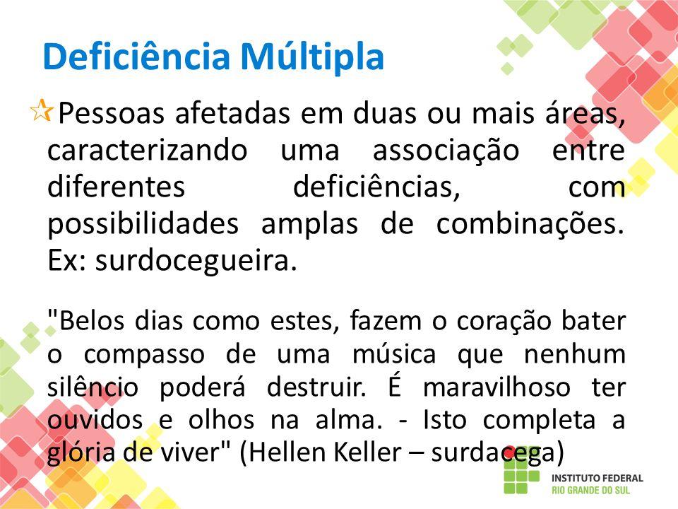 Deficiência Múltipla Pessoas afetadas em duas ou mais áreas, caracterizando uma associação entre diferentes deficiências, com possibilidades amplas de