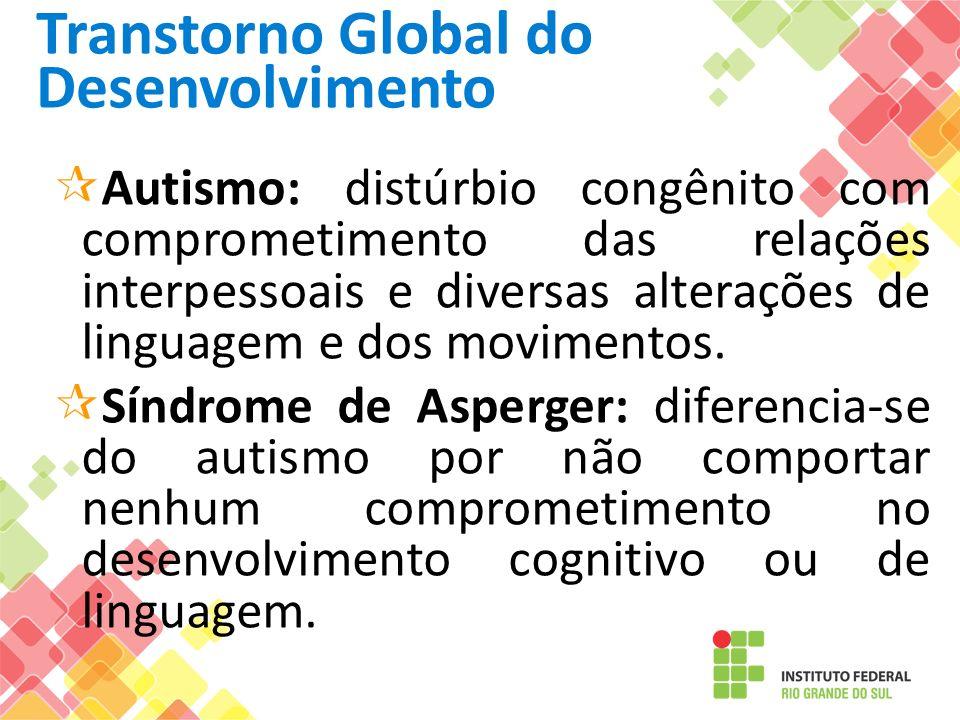 Transtorno Global do Desenvolvimento Autismo: distúrbio congênito com comprometimento das relações interpessoais e diversas alterações de linguagem e