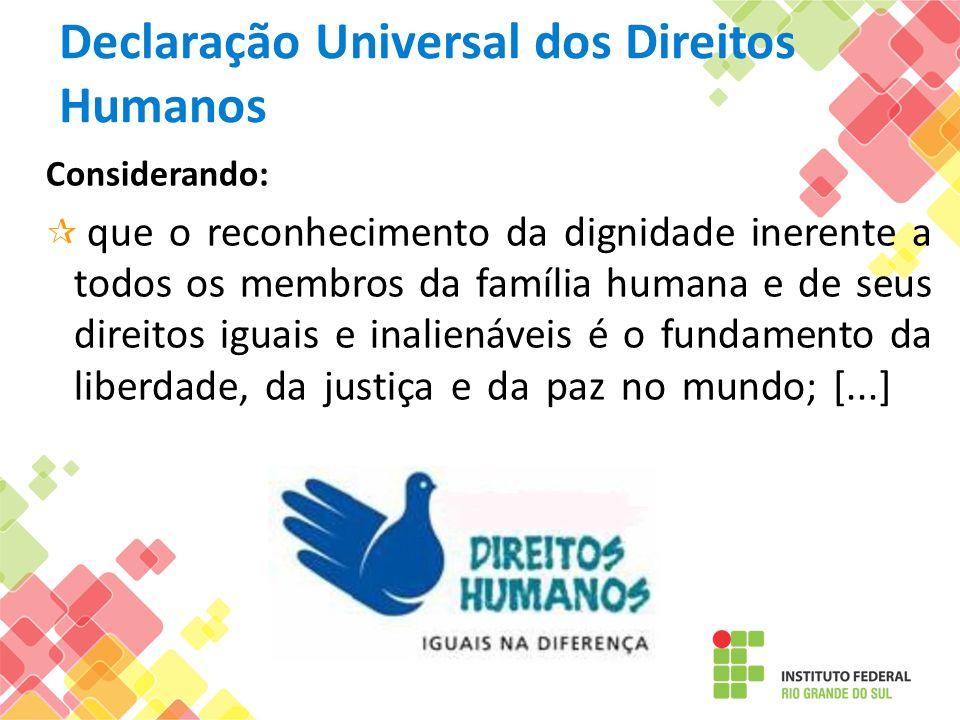 Declaração Universal dos Direitos Humanos Considerando: que o reconhecimento da dignidade inerente a todos os membros da família humana e de seus dire