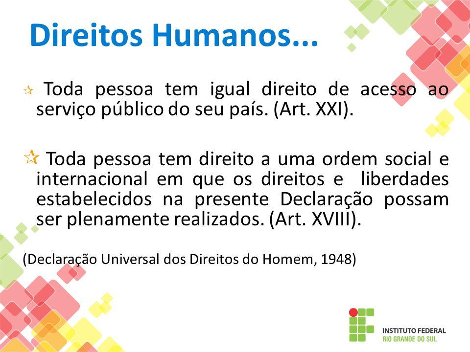 Direitos Humanos... Toda pessoa tem igual direito de acesso ao serviço público do seu país. (Art. XXI). Toda pessoa tem direito a uma ordem social e i