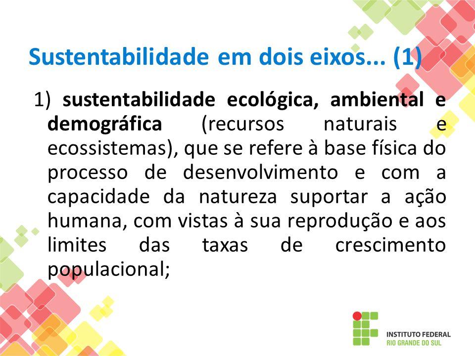 Sustentabilidade em dois eixos... (1) 1) sustentabilidade ecológica, ambiental e demográfica (recursos naturais e ecossistemas), que se refere à base
