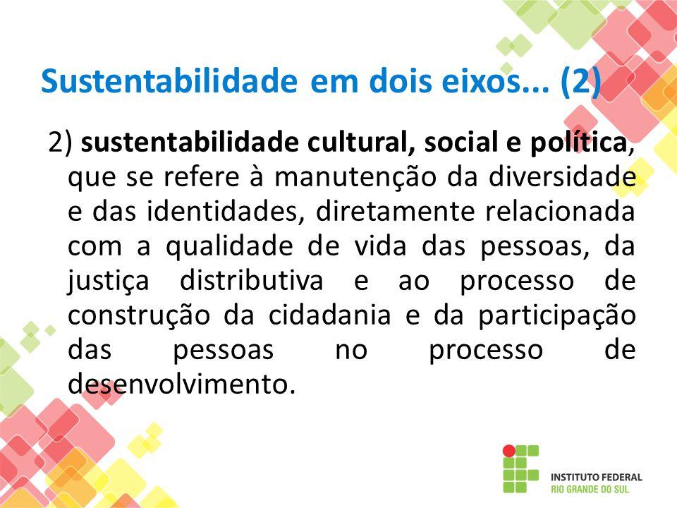 Sustentabilidade em dois eixos... (2) 2) sustentabilidade cultural, social e política, que se refere à manutenção da diversidade e das identidades, di