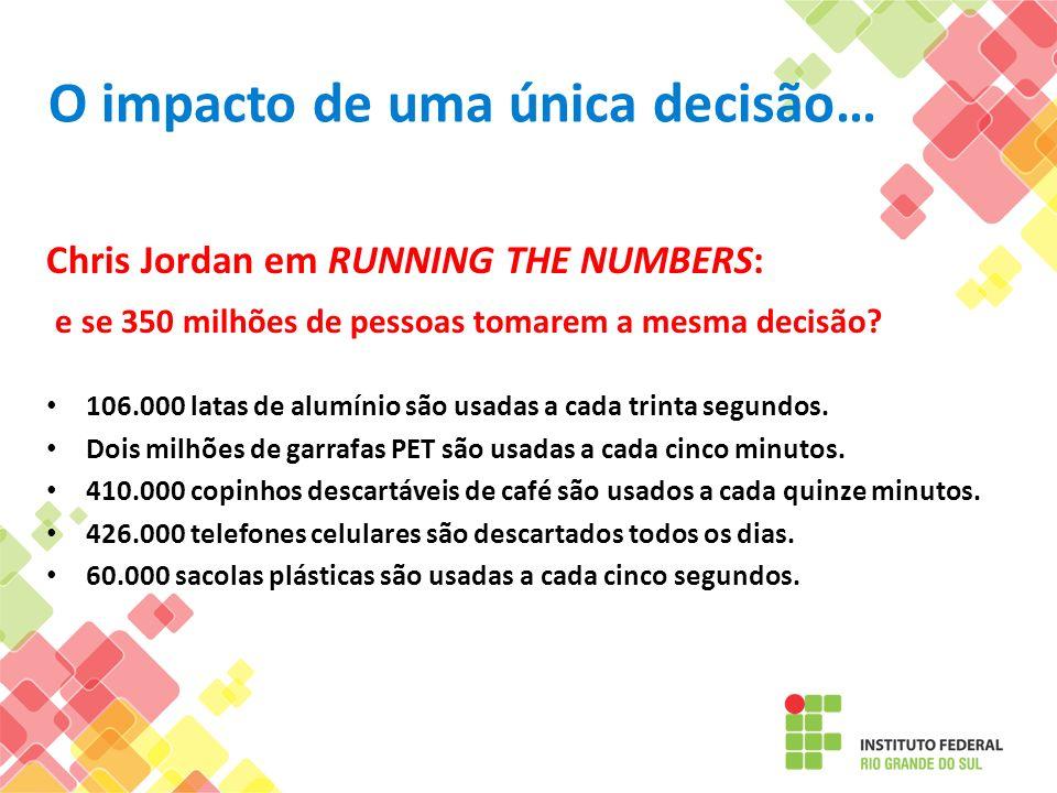 O impacto de uma única decisão… Chris Jordan em RUNNING THE NUMBERS: e se 350 milhões de pessoas tomarem a mesma decisão? 106.000 latas de alumínio sã
