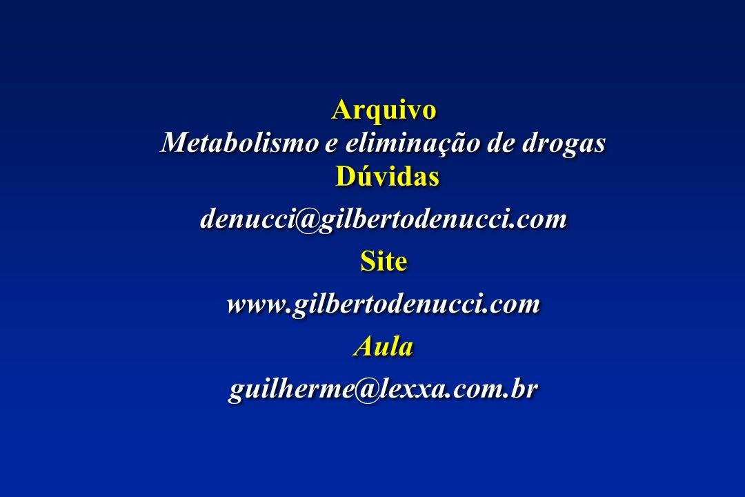 Arquivo Metabolismo e eliminação de drogas Dúvidas denucci@gilbertodenucci.com Site www.gilbertodenucci.com Aula guilherme@lexxa.com.br Arquivo Metabo