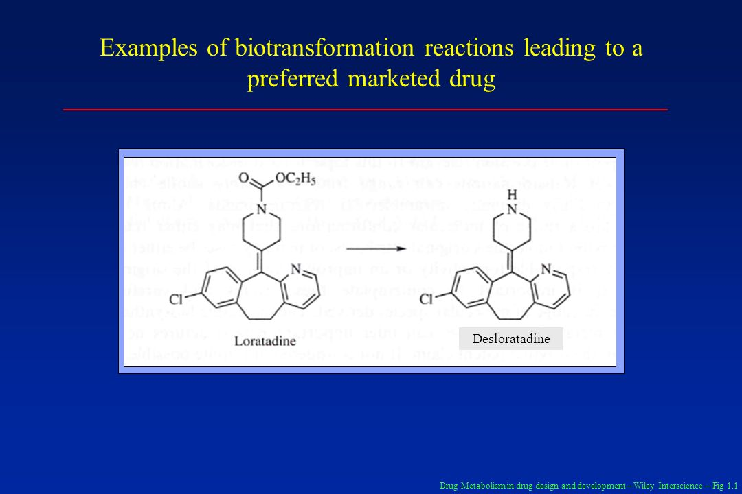 Examples of biotransformation reactions leading to a preferred marketed drug Drug Metabolism in drug design and development – Wiley Interscience – Fig