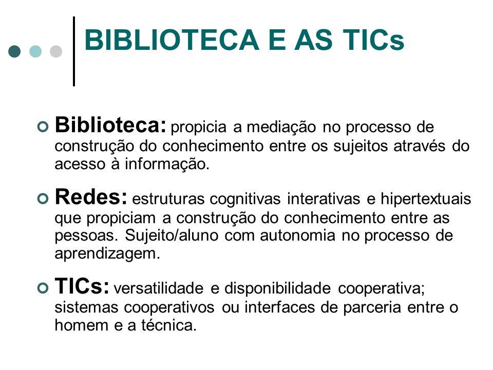 BIBLIOTECA E AS TICs Biblioteca: propicia a mediação no processo de construção do conhecimento entre os sujeitos através do acesso à informação. Redes