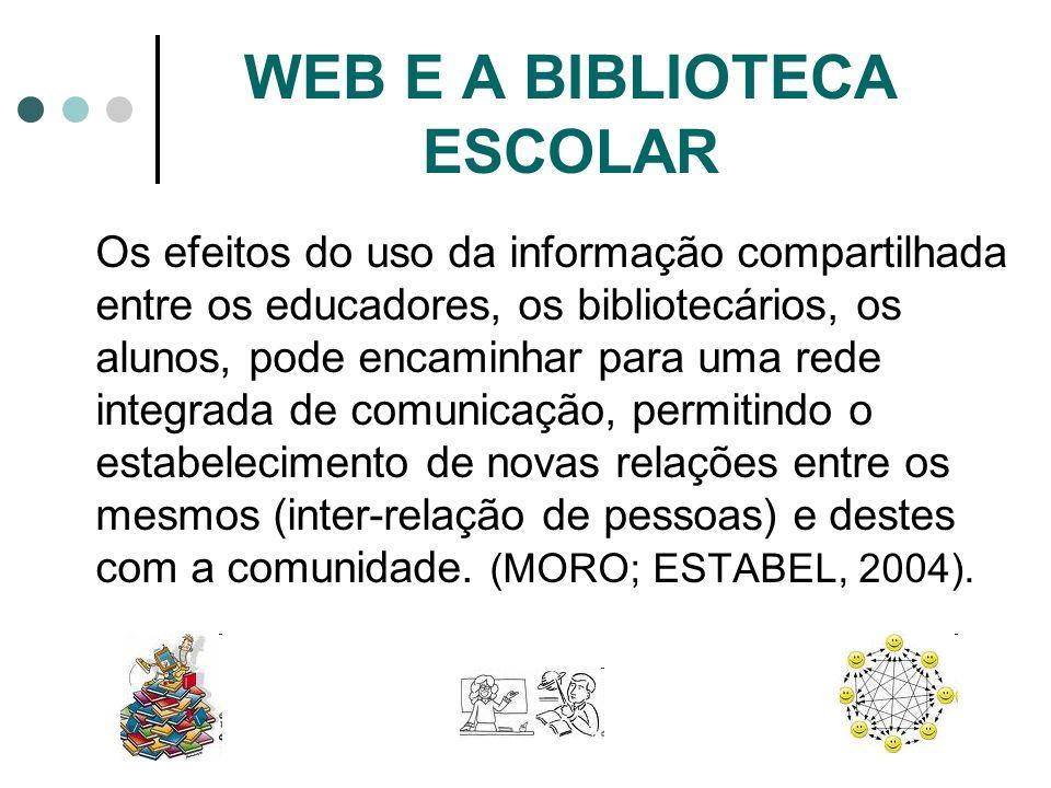 WEB E A BIBLIOTECA ESCOLAR Os efeitos do uso da informação compartilhada entre os educadores, os bibliotecários, os alunos, pode encaminhar para uma r