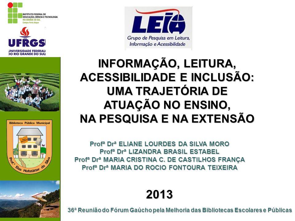 AÇÕES DE INCLUSÃO SOCIAL E DE ACESSIBILIDADE: ENSINO, PESQUISA E EXTENSÃO Extensão: DINAMIZAÇÃO DA SALA DE LEITURA TABAJARA RUAS, do Hospital de Clínicas de Porto Alegre (2011- ) Organização, ações de leitura e inclusão social