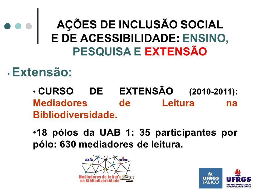 AÇÕES DE INCLUSÃO SOCIAL E DE ACESSIBILIDADE: ENSINO, PESQUISA E EXTENSÃO Extensão: CURSO DE EXTENSÃO (2010-2011): Mediadores de Leitura na Bibliodive