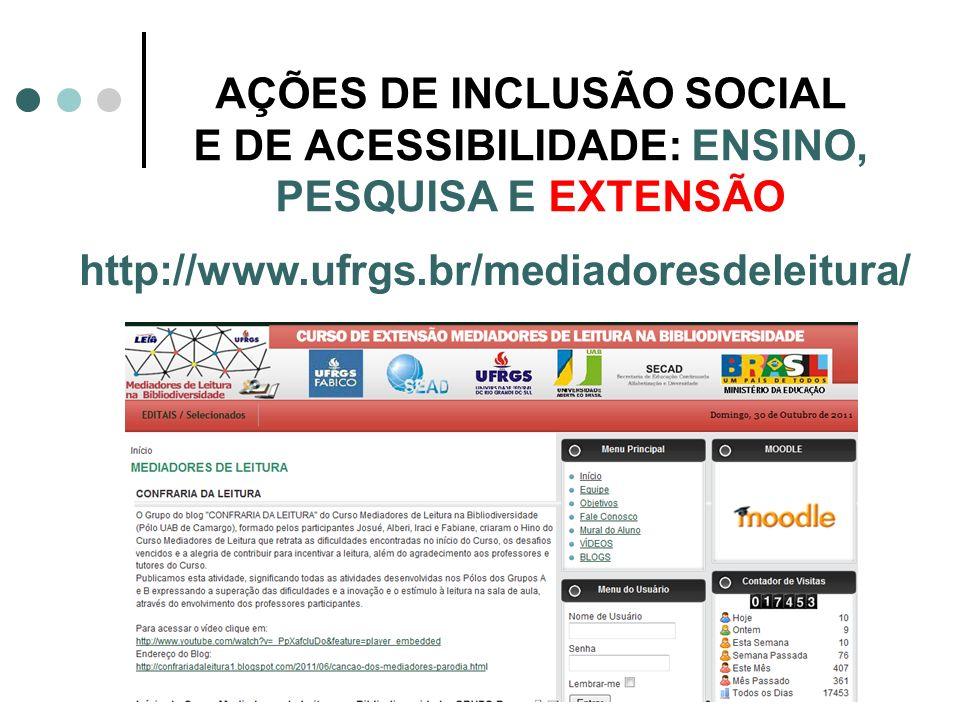 AÇÕES DE INCLUSÃO SOCIAL E DE ACESSIBILIDADE: ENSINO, PESQUISA E EXTENSÃO http://www.ufrgs.br/mediadoresdeleitura/