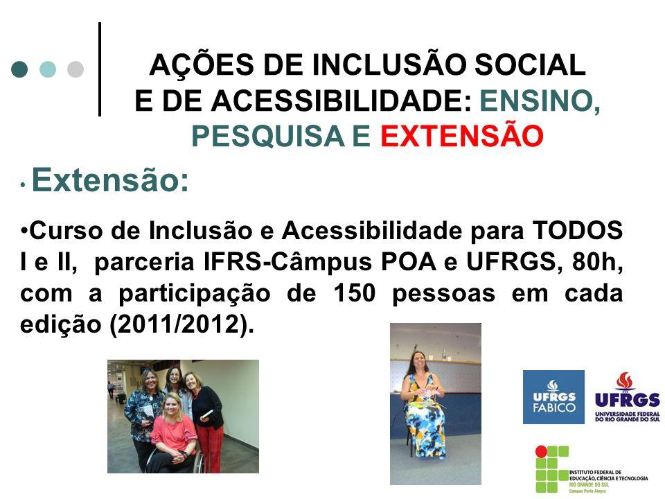 AÇÕES DE INCLUSÃO SOCIAL E DE ACESSIBILIDADE: ENSINO, PESQUISA E EXTENSÃO Extensão: Curso de Inclusão e Acessibili dade para TODOS I e II, parceria IF