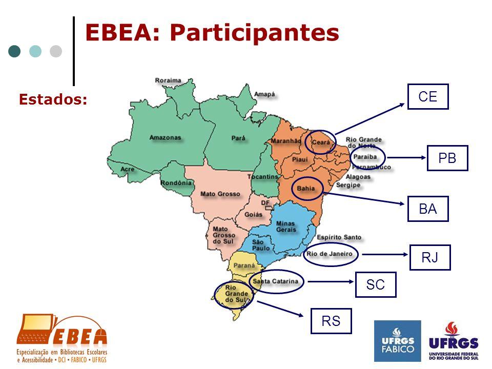 EBEA: Participantes Estados: CE BA PB RJ SC RS