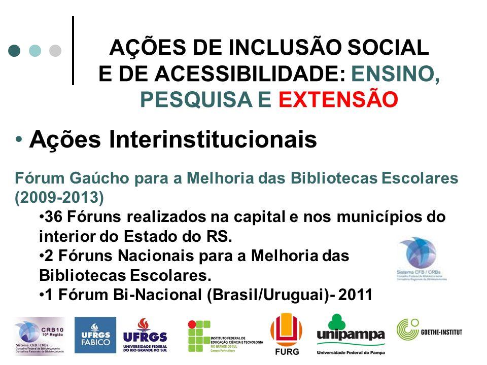 AÇÕES DE INCLUSÃO SOCIAL E DE ACESSIBILIDADE: ENSINO, PESQUISA E EXTENSÃO Ações Interinstitucionais Fórum Gaúcho para a Melhoria das Bibliotecas Escol