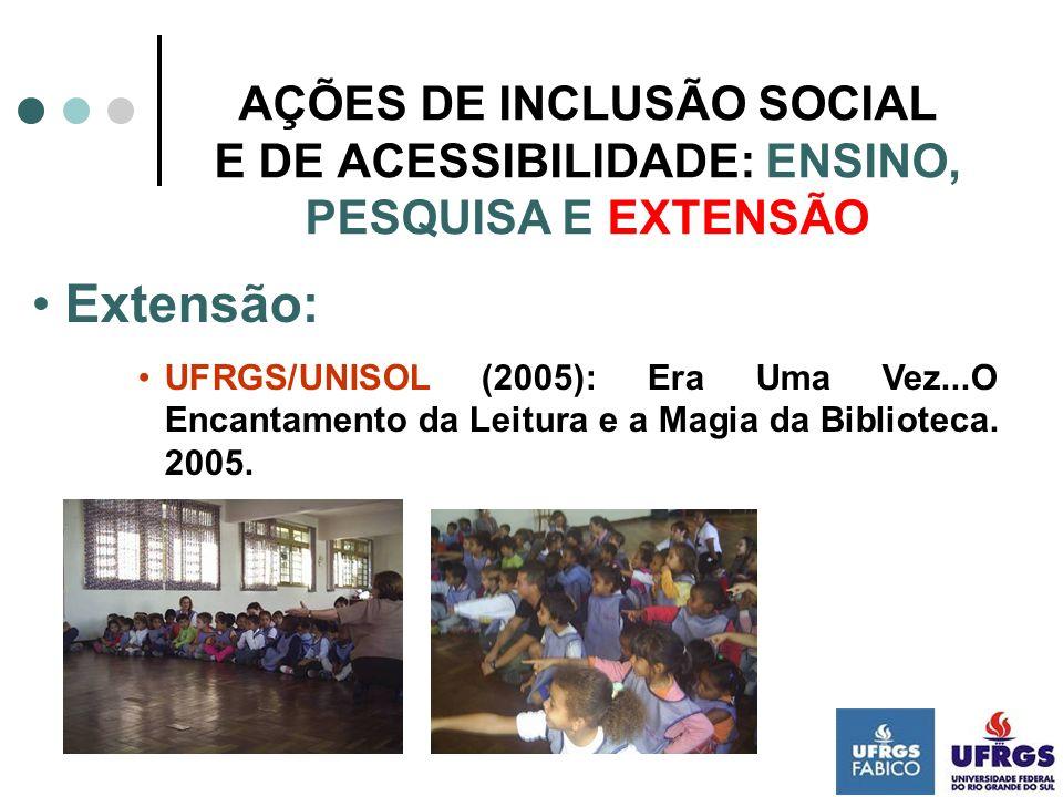 AÇÕES DE INCLUSÃO SOCIAL E DE ACESSIBILIDADE: ENSINO, PESQUISA E EXTENSÃO Extensão: BIBLIOTEC II (2006): Curso em EAD, mediado por computador, com a temática Bibliotecas Escolares e Inclusão.