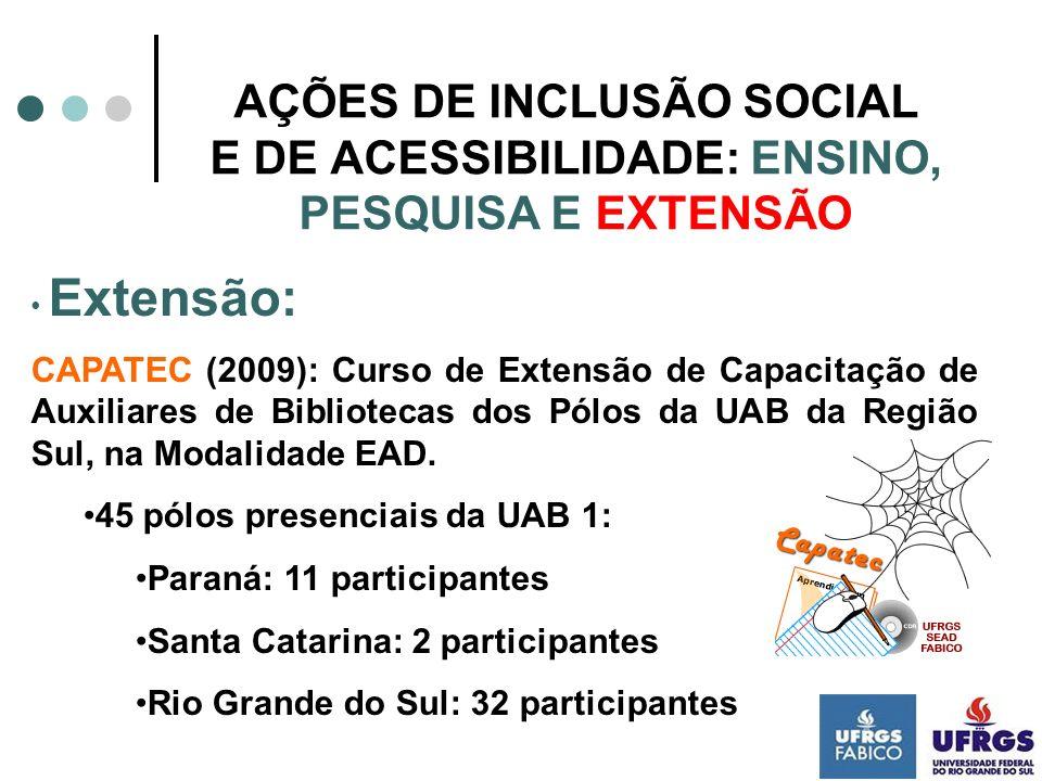 AÇÕES DE INCLUSÃO SOCIAL E DE ACESSIBILIDADE: ENSINO, PESQUISA E EXTENSÃO Extensão: CAPATEC (2009): Curso de Extensão de Capacitação de Auxiliares de