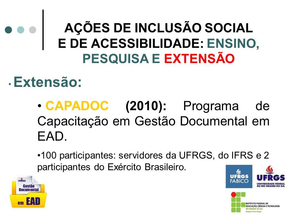 AÇÕES DE INCLUSÃO SOCIAL E DE ACESSIBILIDADE: ENSINO, PESQUISA E EXTENSÃO Pesquisa: Projeto: Tecnologias Acessíveis para Adolescentes com Fibrose Cística em Isolamento Hospitalar com fomento PROBITEC/IFRS, 2010- 2013.