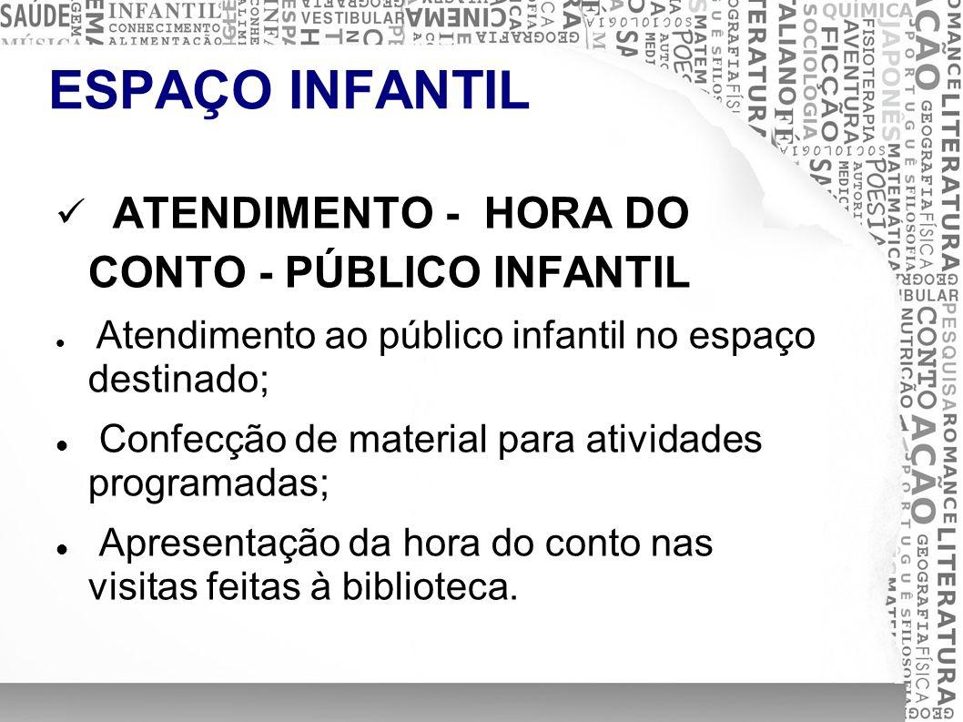 ESPAÇO INFANTIL ATENDIMENTO - HORA DO CONTO - PÚBLICO INFANTIL Atendimento ao público infantil no espaço destinado; Confecção de material para ativida