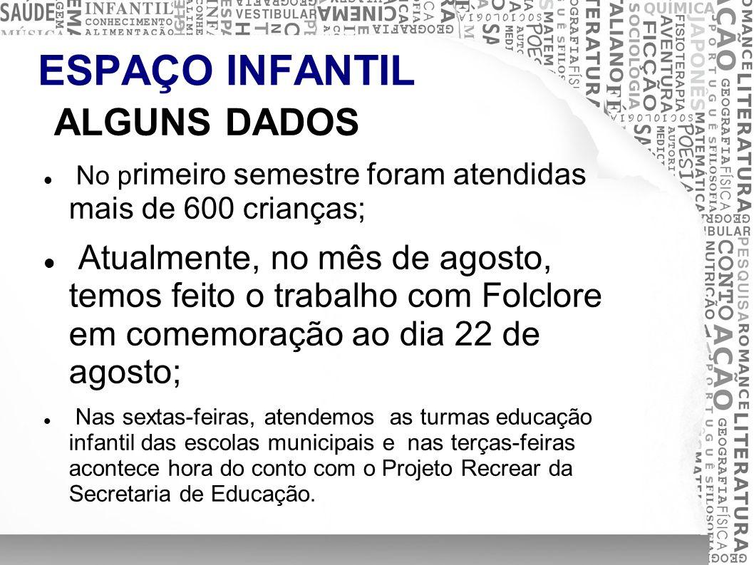 ESPAÇO INFANTIL ALGUNS DADOS No p rimeiro semestre foram atendidas mais de 600 crianças; Atualmente, no mês de agosto, temos feito o trabalho com Folc