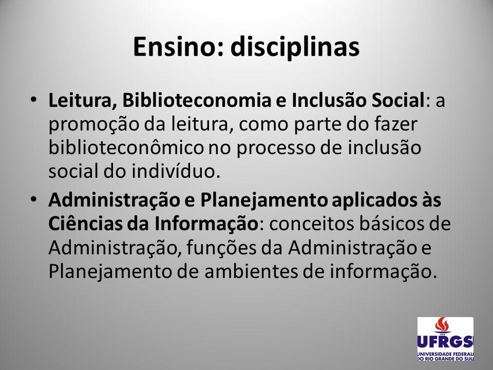 Ensino: disciplinas Fontes Gerais de Informação: conceito, tipologia e função das fontes gerais de informação.