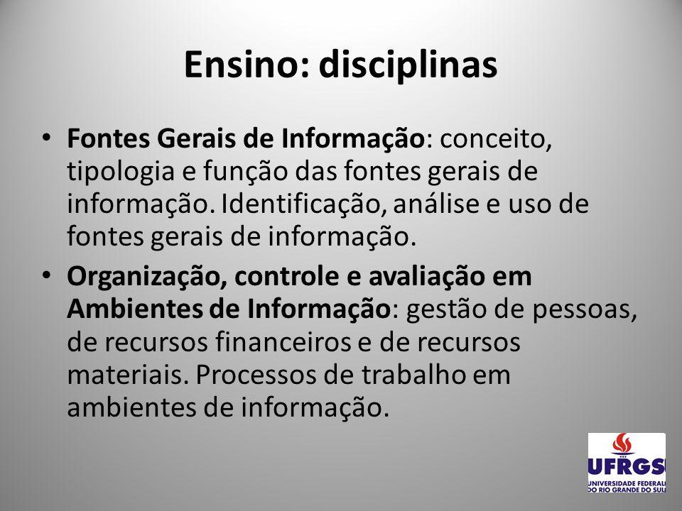 Ensino: disciplinas Gestão de Ambientes em Unidades de Informação.