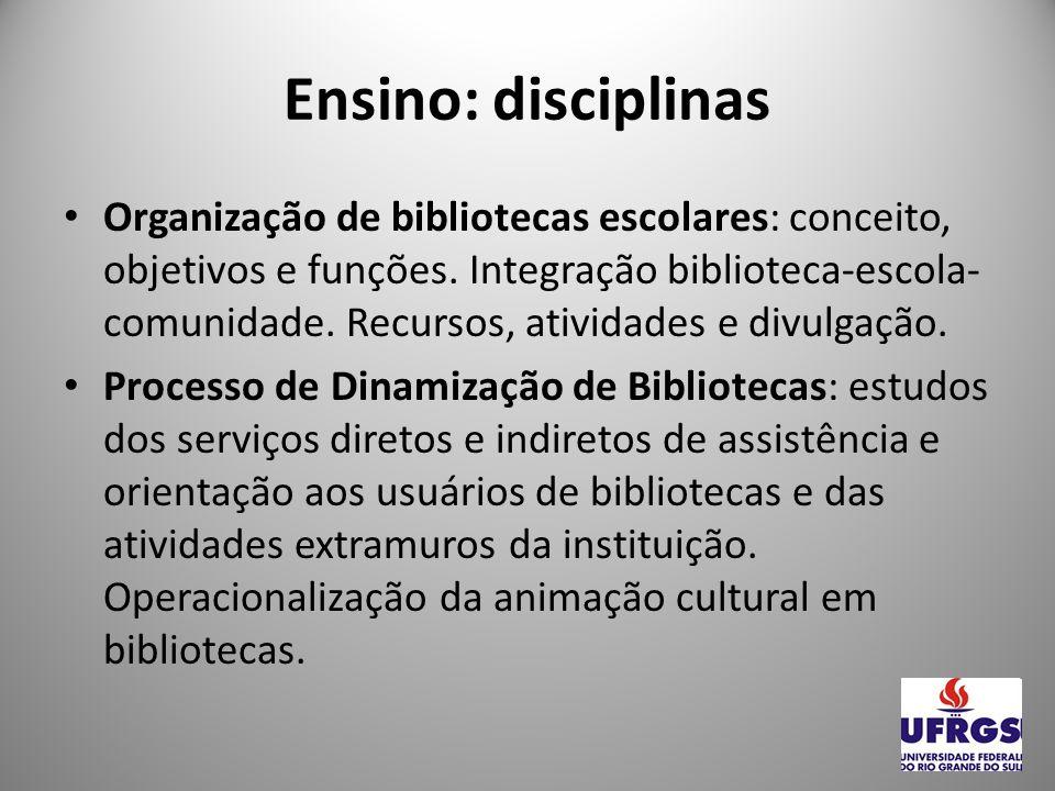 Ensino: disciplinas Representação Descritiva I, II e III: Conceitos, princípios, etapas, padrões da representação descritiva dos registros informacionais.