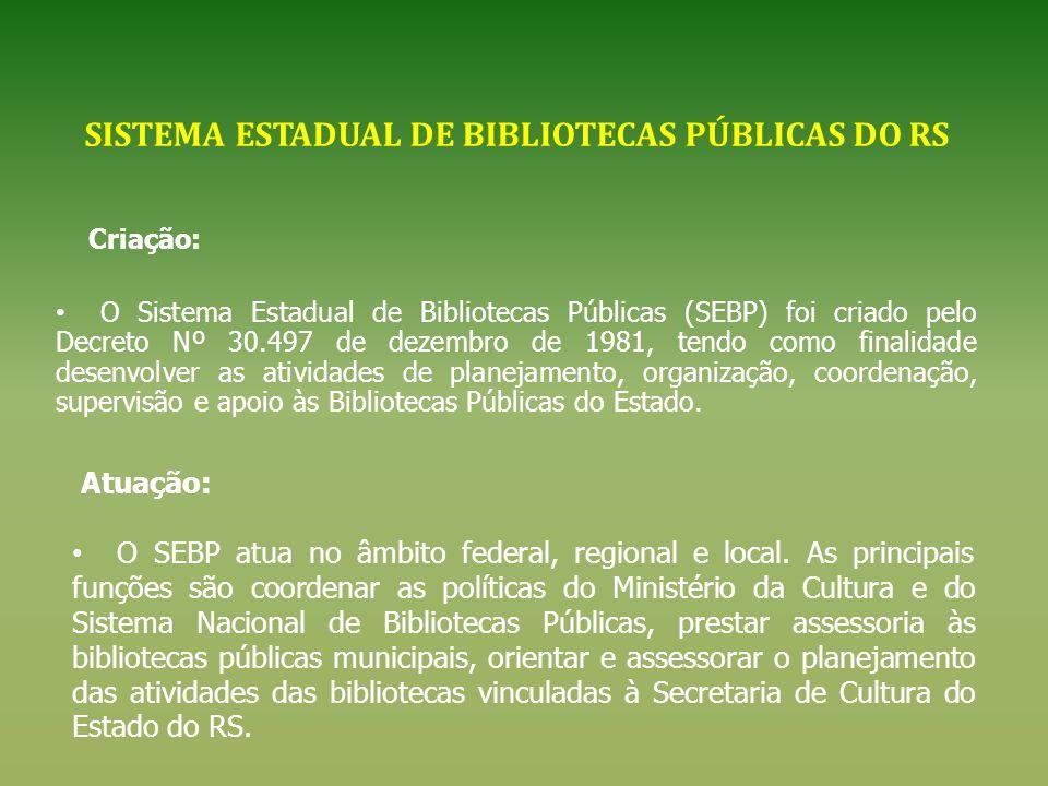 SISTEMA ESTADUAL DE BIBLIOTECAS PÚBLICAS DO RS Criação: O Sistema Estadual de Bibliotecas Públicas (SEBP) foi criado pelo Decreto Nº 30.497 de dezembr