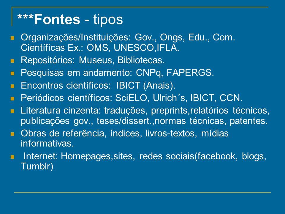 ***Fontes - tipos Organizações/Instituições: Gov., Ongs, Edu., Com. Científicas Ex.: OMS, UNESCO,IFLA. Repositórios: Museus, Bibliotecas. Pesquisas em