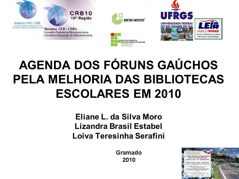 AGENDA DOS FÓRUNS GAÚCHOS PELA MELHORIA DAS BIBLIOTECAS ESCOLARES EM 2010 Eliane L. da Silva Moro Lizandra Brasil Estabel Loiva Teresinha Serafini Gra