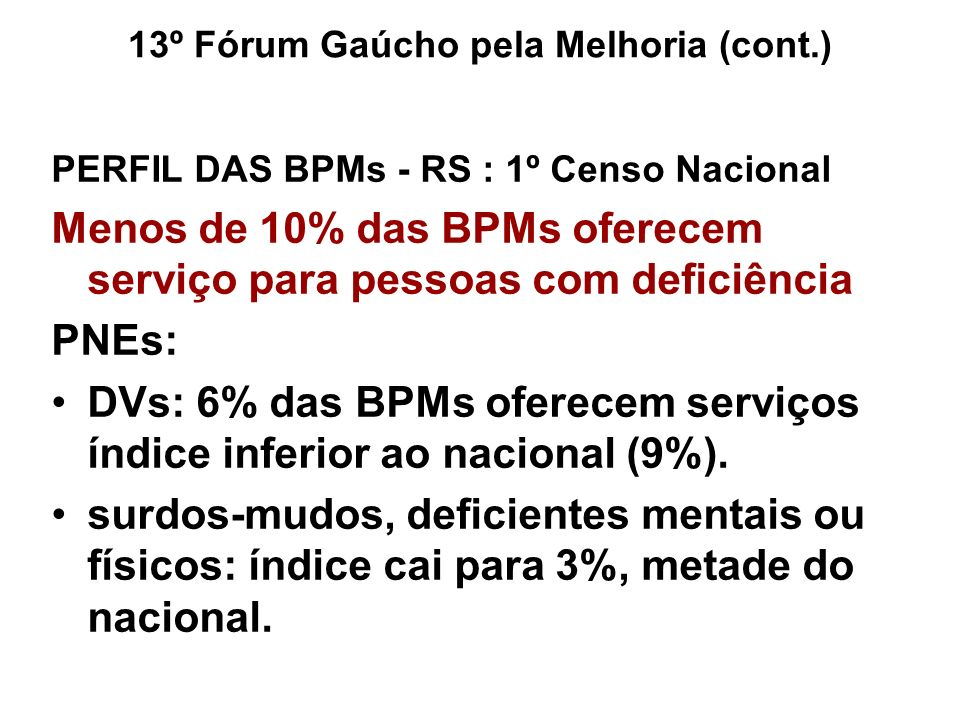 PERFIL DAS BPMs - RS : 1º Censo Nacional Menos de 10% das BPMs oferecem serviço para pessoas com deficiência PNEs: DVs: 6% das BPMs oferecem serviços