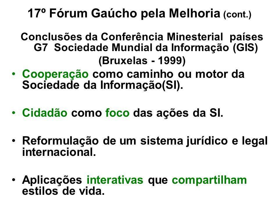 17º Fórum Gaúcho pela Melhoria (cont.) Conclusões da Conferência Minesterial países G7 Sociedade Mundial da Informação (GIS) (Bruxelas - 1999) Coopera