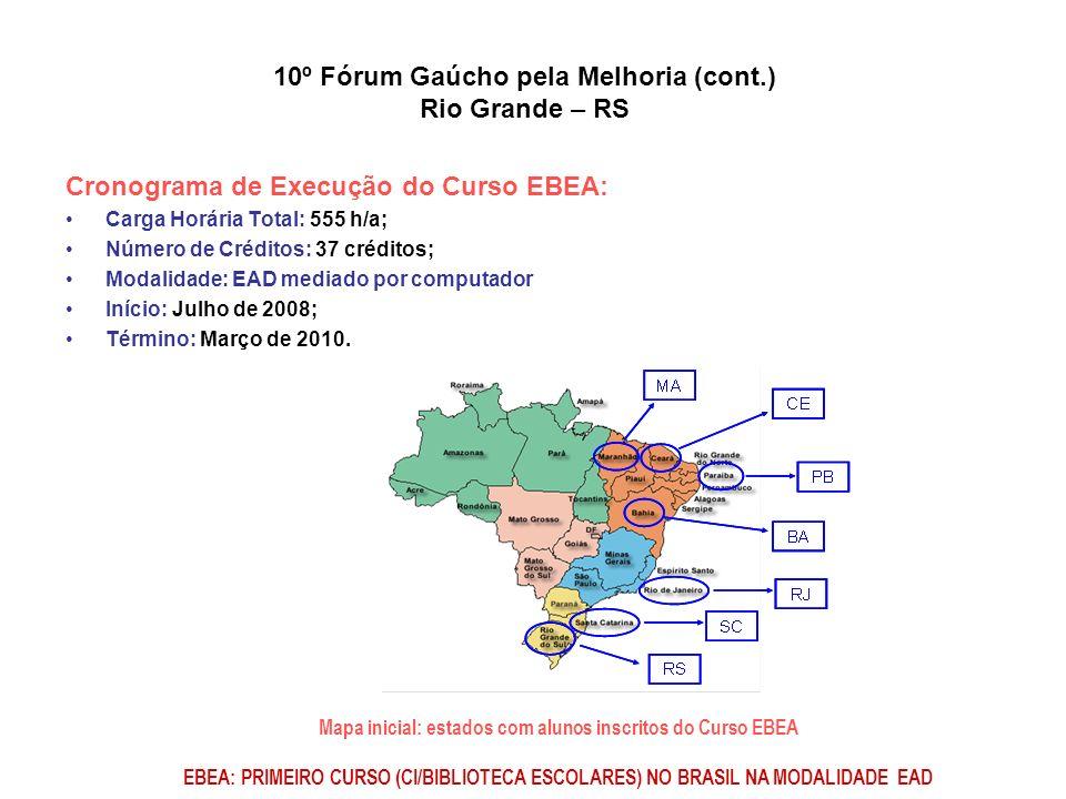 Cronograma de Execução do Curso EBEA: Carga Horária Total: 555 h/a; Número de Créditos: 37 créditos; Modalidade: EAD mediado por computador Início: Ju