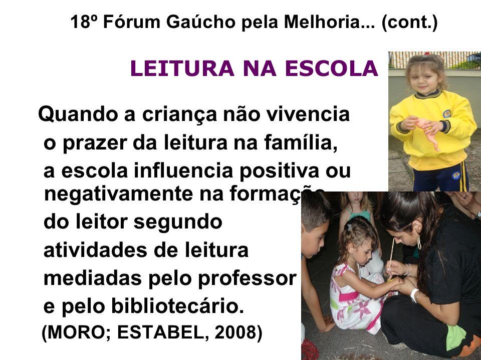 18º Fórum Gaúcho pela Melhoria... (cont.) LEITURA NA ESCOLA Quando a criança não vivencia o prazer da leitura na família, a escola influencia positiva