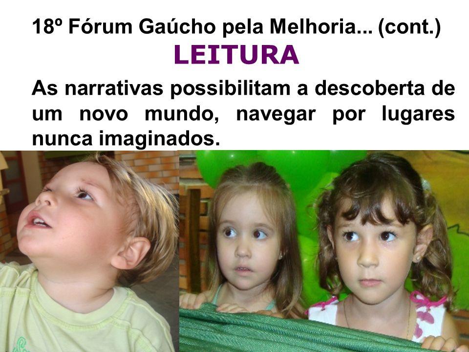 18º Fórum Gaúcho pela Melhoria... (cont.) LEITURA As narrativas possibilitam a descoberta de um novo mundo, navegar por lugares nunca imaginados.
