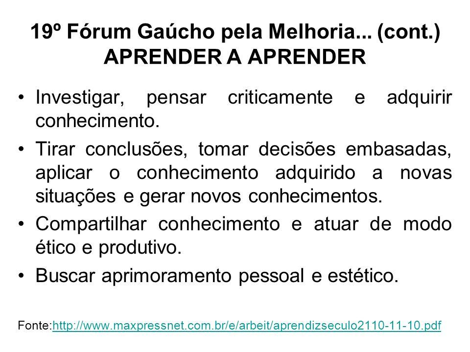 19º Fórum Gaúcho pela Melhoria... (cont.) APRENDER A APRENDER Investigar, pensar criticamente e adquirir conhecimento. Tirar conclusões, tomar decisõe
