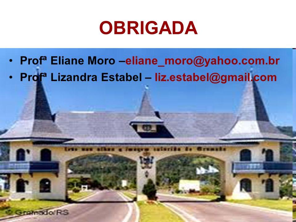 OBRIGADA Profª Eliane Moro –eliane_moro@yahoo.com.br Profª Lizandra Estabel – liz.estabel@gmail.com