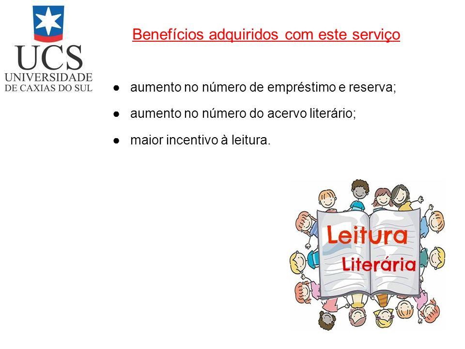 Benefícios adquiridos com este serviço aumento no número de empréstimo e reserva; aumento no número do acervo literário; maior incentivo à leitura.