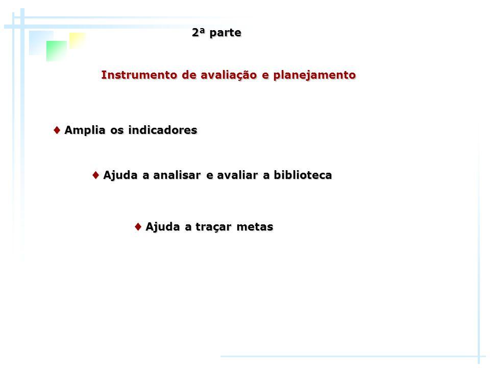 Instrumento de avaliação e planejamento Amplia os indicadores Amplia os indicadores Ajuda a analisar e avaliar a biblioteca Ajuda a analisar e avaliar
