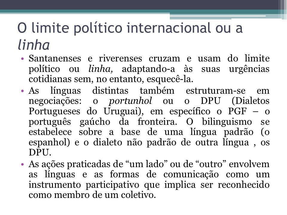 O limite político internacional ou a linha Santanenses e riverenses cruzam e usam do limite político ou linha, adaptando-a às suas urgências cotidiana