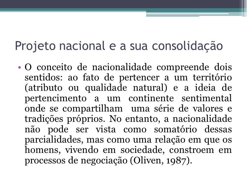 Projeto nacional e a sua consolidação O conceito de nacionalidade compreende dois sentidos: ao fato de pertencer a um território (atributo ou qualidad